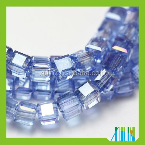 It.sapphire AB clear glass crystal cube loose beads in bulk