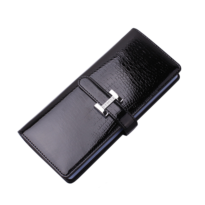 Crocodile faux leather large capacity flip credit card wallet PU business card holder organizer