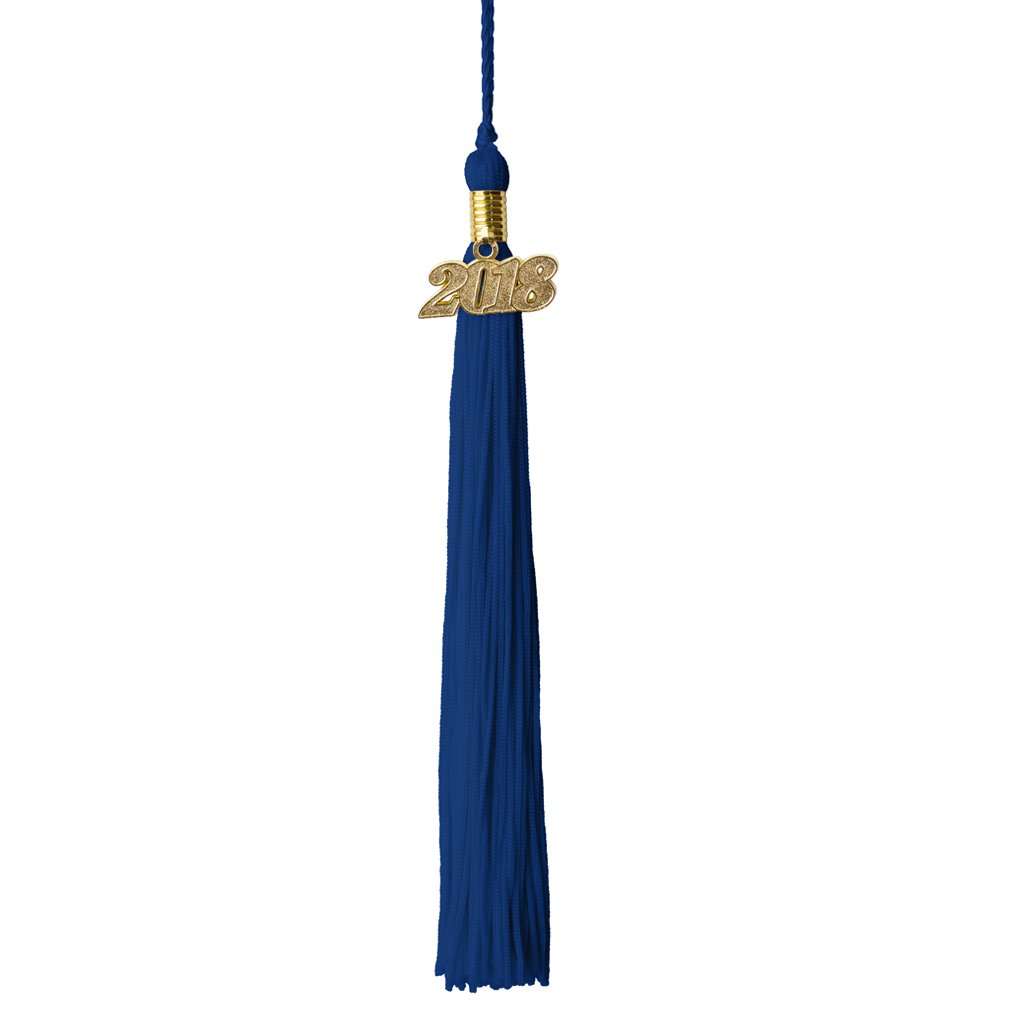 Royal Blue and Gold Graduation Tassel Year 2018 with gold charm MultiColor