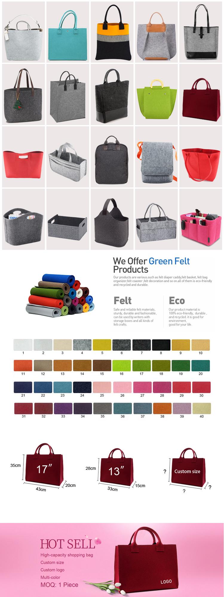 2019 Produk Grosir Kustom Logo Abu-abu Belanja Tas Tangan Merasa Tote Bag untuk Wanita