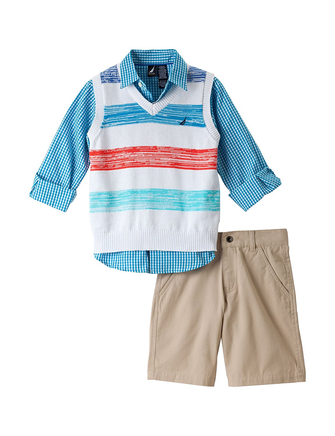 bdfd0e136 Get Quotations · Nautica Toddler Boy's 3pc Brushstroke Sweater Vest/ Short  Set, White