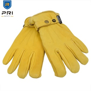 PRI Warm Thinsulate Lining Deerskin Men Driving Outdoor Winter Leather Work Gloves