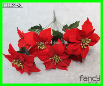 7 heads red colored silk flower mini small artificial poinsettia 7 heads red colored silk flower mini small artificial poinsettia flowers mightylinksfo