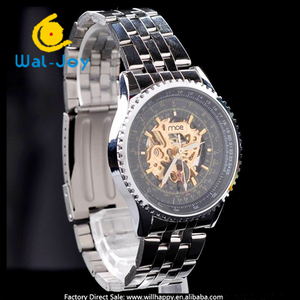 WJ-1393 2015 new stainless steel band automatic mechanical wrist fashion watch mens