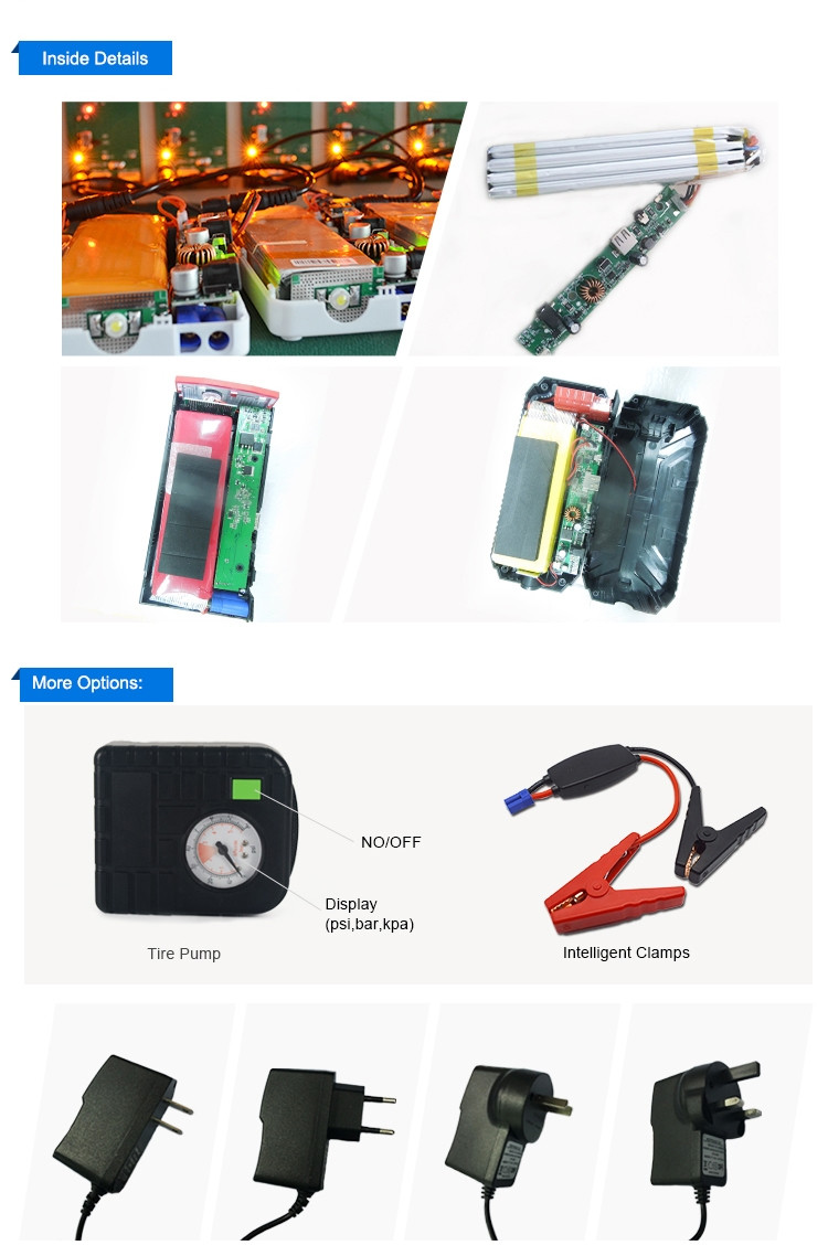 Car Emergency Power bank, battery charger 8000mAh mini starter battery12v car jump starter Power Bank for Car Jump Start