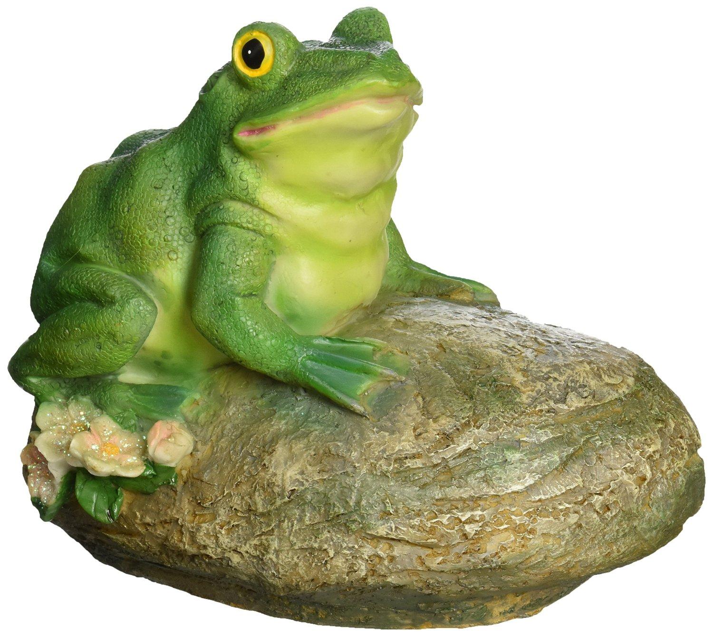 Design Toscano Thurston the Frog Garden Rock Sitting Toad Statue, Multicolored