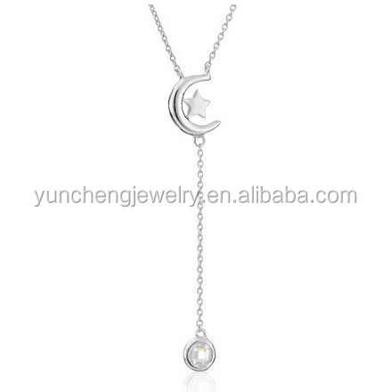 YCN6627 Moon and star sterling silver flat handmade necklace