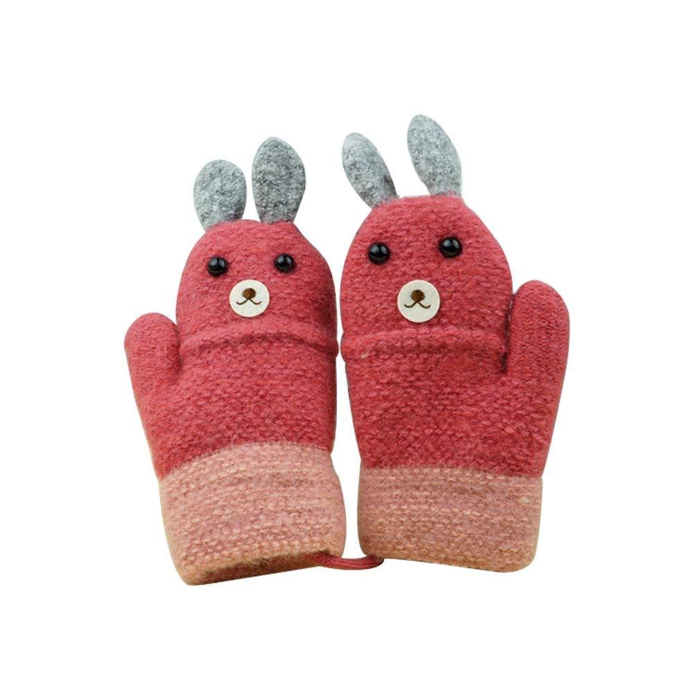 Dorapocket Kids Cute Cartoon Rabbit Gloves Toddler Baby Knitted Warm Mittens