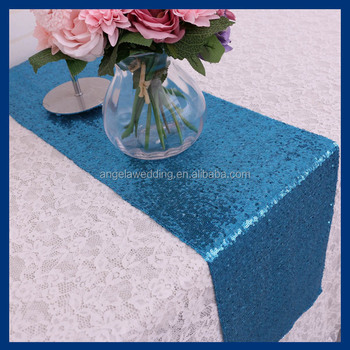 RU002C Custom Made Many Colors Available Sequence Decorative Metallic Light  Blue Aqua Blue Sequin Table Runner