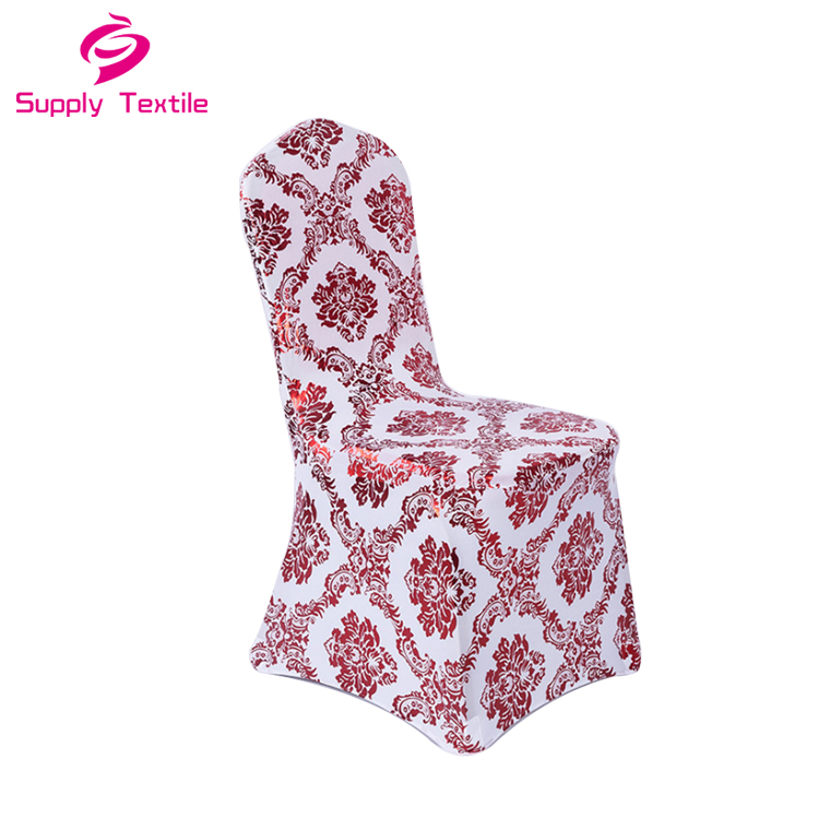 Metallic Bronze Gold Printed Wedding Jacquard Chair Covers Banquet Dining Chair Covers For Event