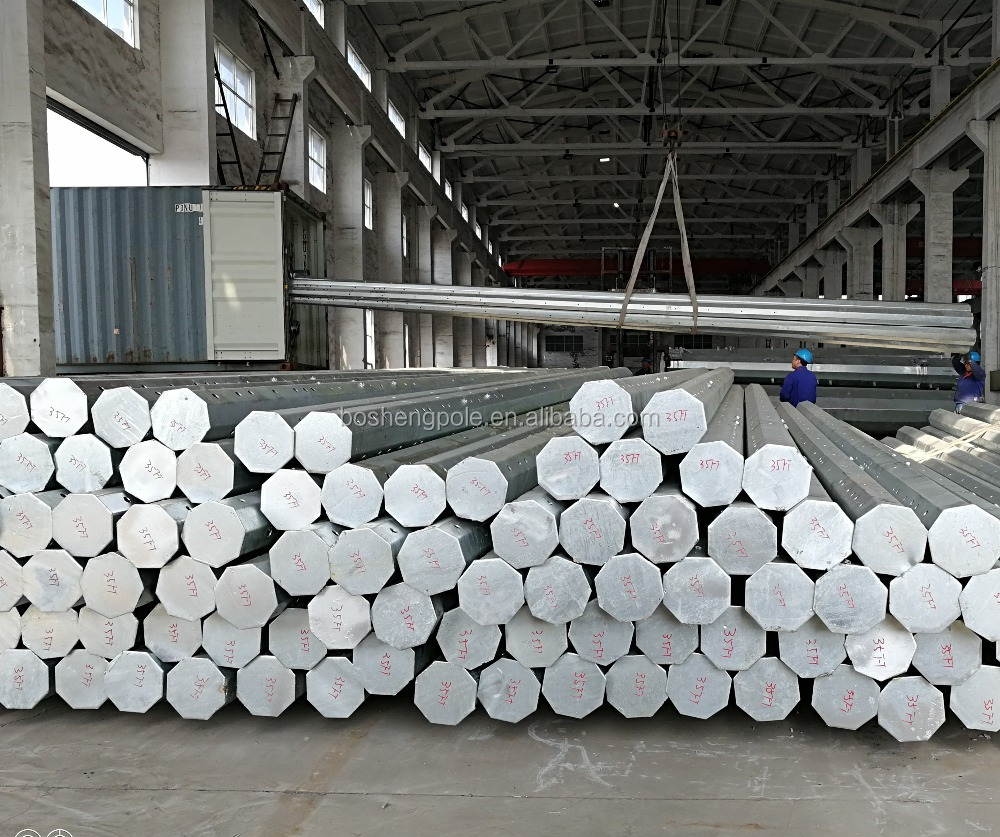 35FT Q345 3mm Thick Hot Dip Galvanized Electric Steel Pole
