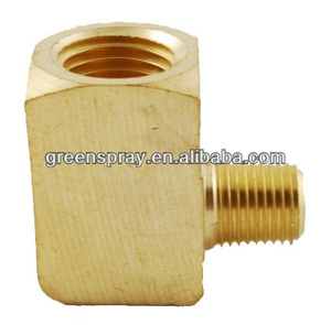 "1/4"" NPT Female to 1/8"" NPT Male Extruded Reducer Straight Elbow L Shape Brass Pipe Fitting"