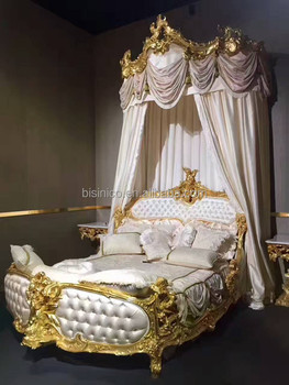 White & Gold Design Button Tufted King Size Bed, Luxury Wood Carved Golden  Bed & Night Stands, Imperial Bedroom Furniture Set, View solid wood carved  ...