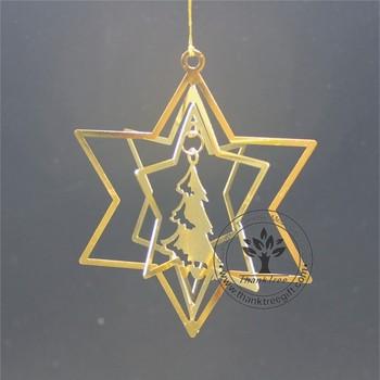 Metal Craft 3d Metal Christmas Ornament With Christmas Tree Hanging