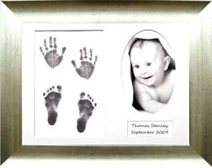 BabyRice Baby Handprint Footprint Kit, Antique Silver Frame, Black Inkless Paint Wipe Kit 0-3 years