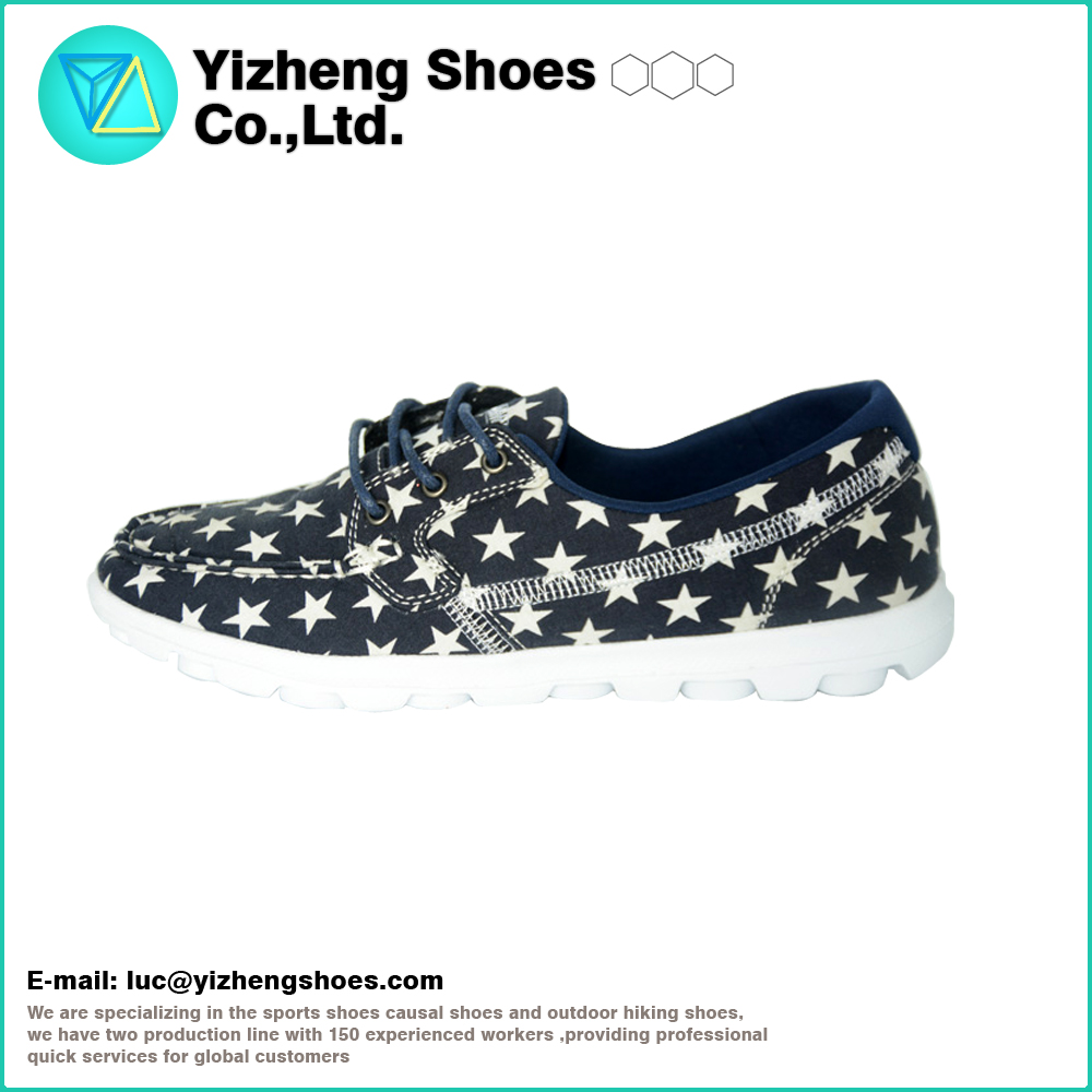2016 Hot Selling Lady Black Star Printing Canvas Cheap Slip on shoes For wholesale