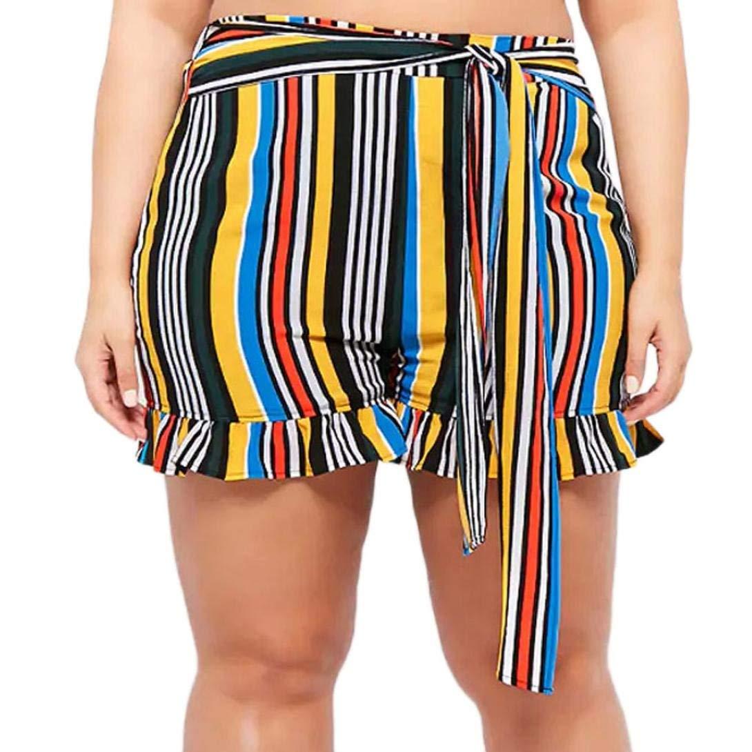 Paymenow_Shorts for Women Women Summer Shorts Casual Colorful Striped Beach Short Pants Fashion Bowknots Lace Up Ruffled Shorts