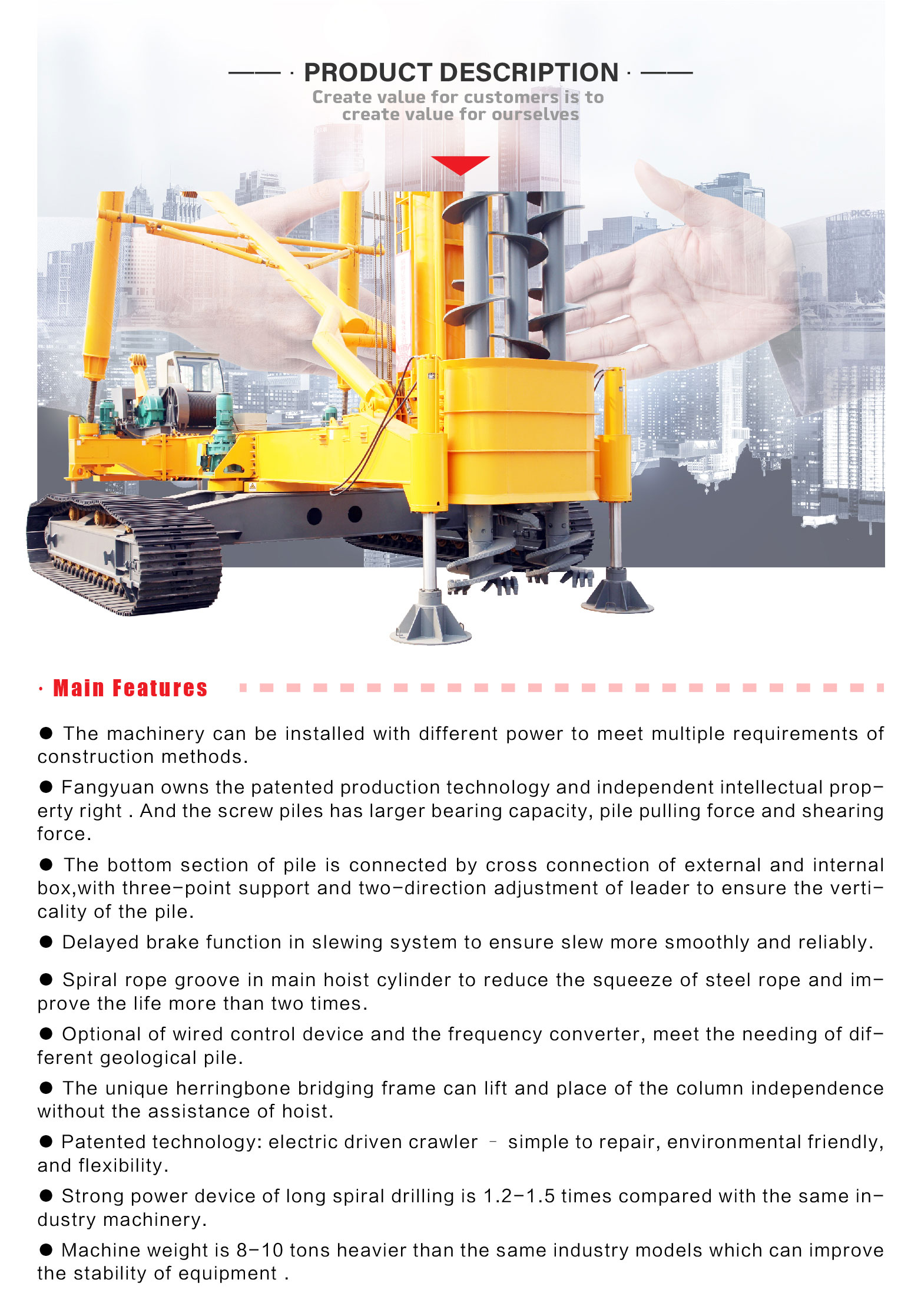 JZL120 Easy to operate bore concrete pile drilling driving machine