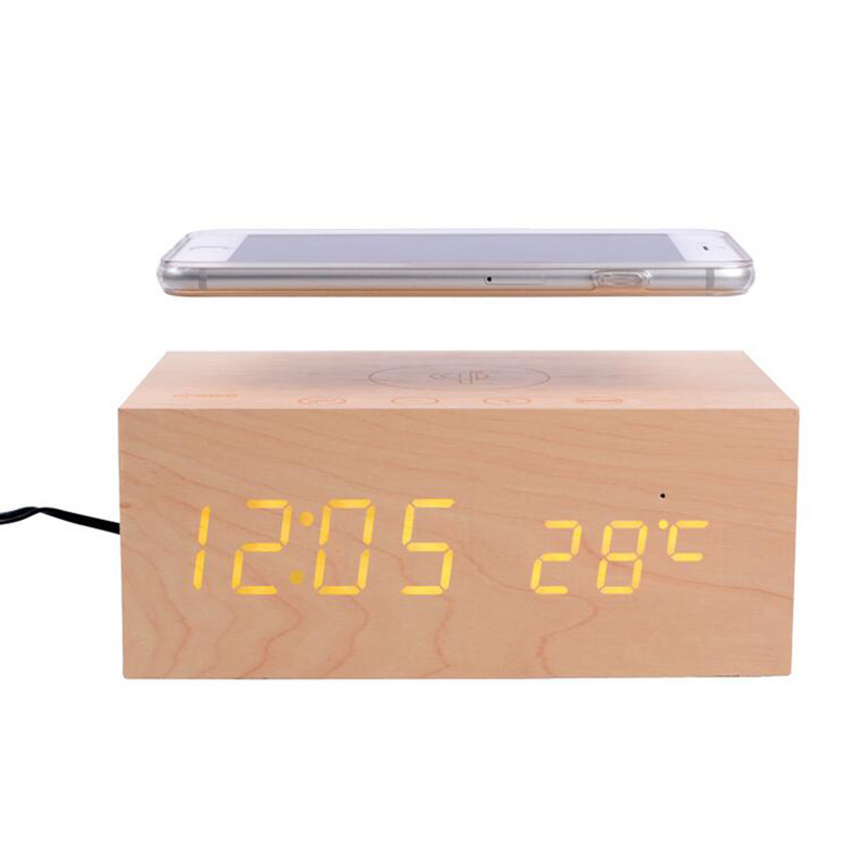 LED Wood cock large screen alarm clock +speaker+qi wireless phone charging+NFC with thermometer hands-free function
