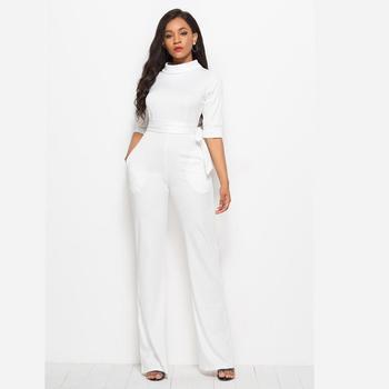 df44ba80666 european sexy white long pants casual wear elegant fashion luxury jumpsuit  women clothing