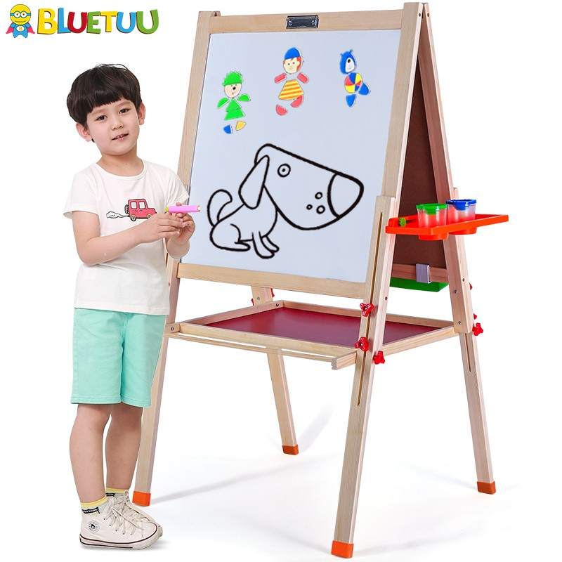 Best toys for kids that painting easel stand with white blackboard sketchpad