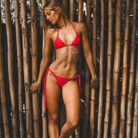 Plain red sexy girls two pieces swimwear bikini self tied bra and side overlong strings pants bathing suit swimsuits