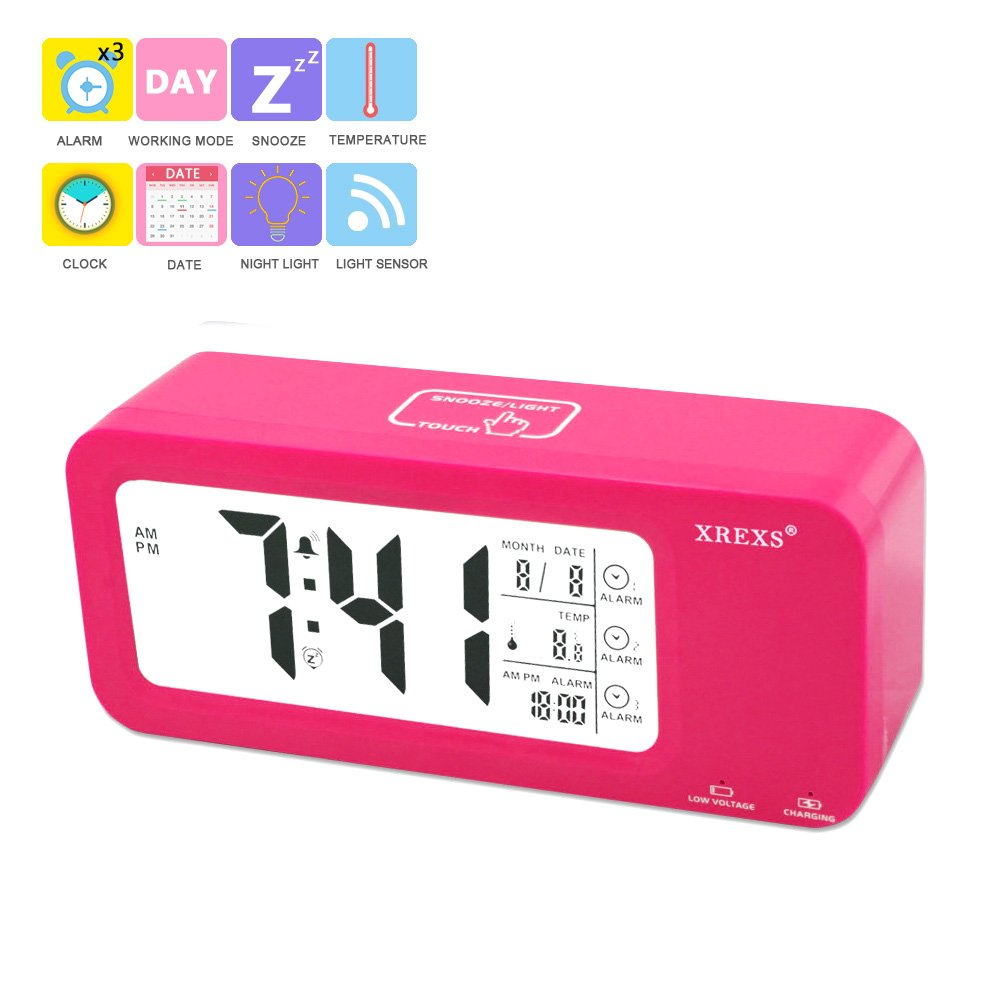 Buy Desk Digital Alarm Clock,XREXS Portable Nightlight Clock ...