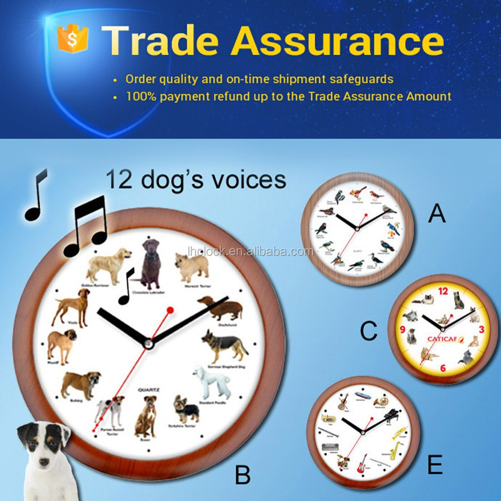 Hourly Music Wall Clock Bird Cat Dog Animal Horse Instrument Sound