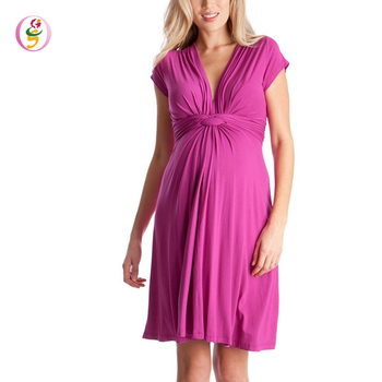 Pink Knot Front Maternity Wrap Dress Sexy V-neck Summer Casual Midi Dress for Pregnant