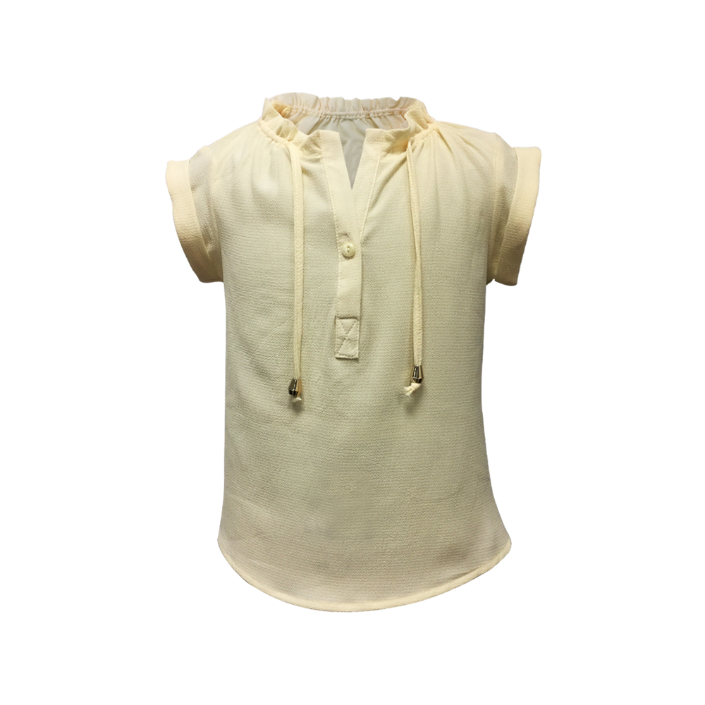 Fashion Collection 100% Polyester Children Casual Frilled Collar Cap Sleeve Beige Color Top for Girls