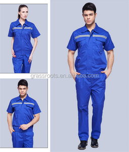 Summer short-sleeved overalls suit men auto repair clothing 100 cotton work uniform