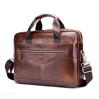 First Layer Cowhide Leather Mens Shoulder Briefcase for 14 ' Laptop Exquisite Business Handbag Bag Leather Men's Tote Briefcase