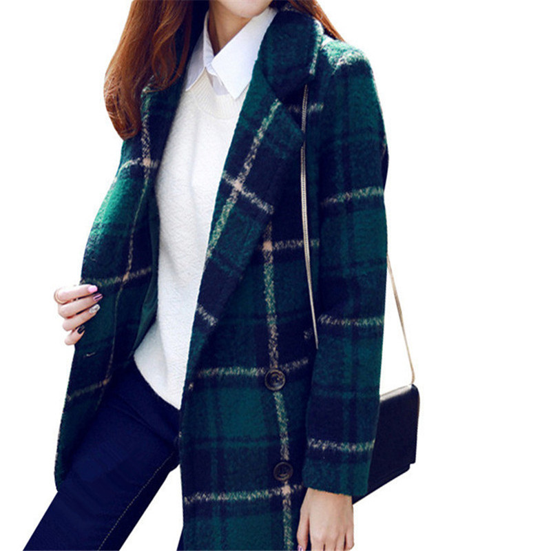 0642f7b68bf85 Get Quotations · 2015 Winter Trench Coat Women British Style Plaid Long Woolen  Coat Thick Windbreaker Female Warm Casaco