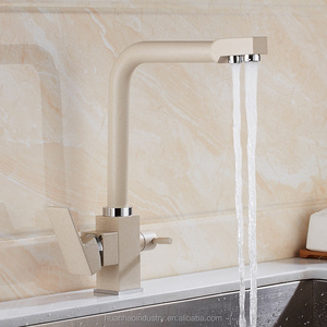 Oat color Hot and cold kitchen Three uses Water Purifier Faucet sink Faucet Rotate water