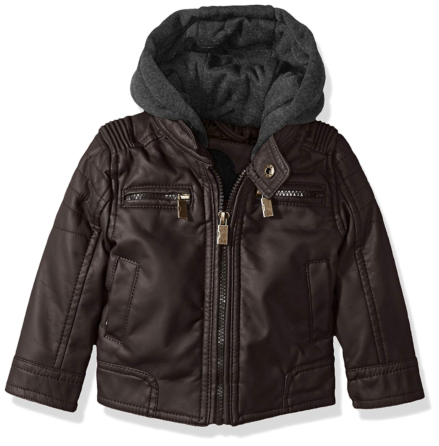 90ec7327f9e8 Buy Urban Republic Baby Boys Faux Leather Jacket Quilted Sleeves in ...
