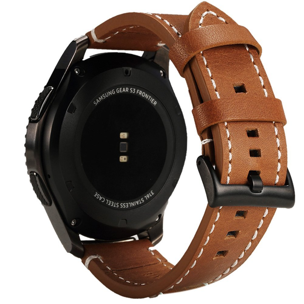 For Gear S3 Frontier / Classic Watch Band - Valkit Genuine Leather 22MM Replacement Bands Bracelet Wrist Strap with Stainless Steel Clasp for Samsung Gear S3 Classic Frontier Smart Watch Band - Brown