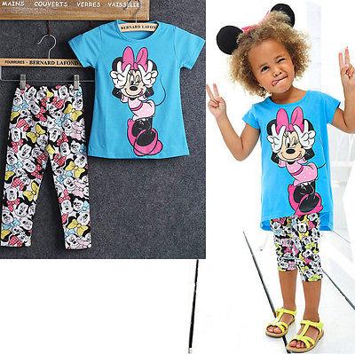New 2PCS Baby Girl Short Sleeve shirt Pants Set Clothes Kids Outfits set