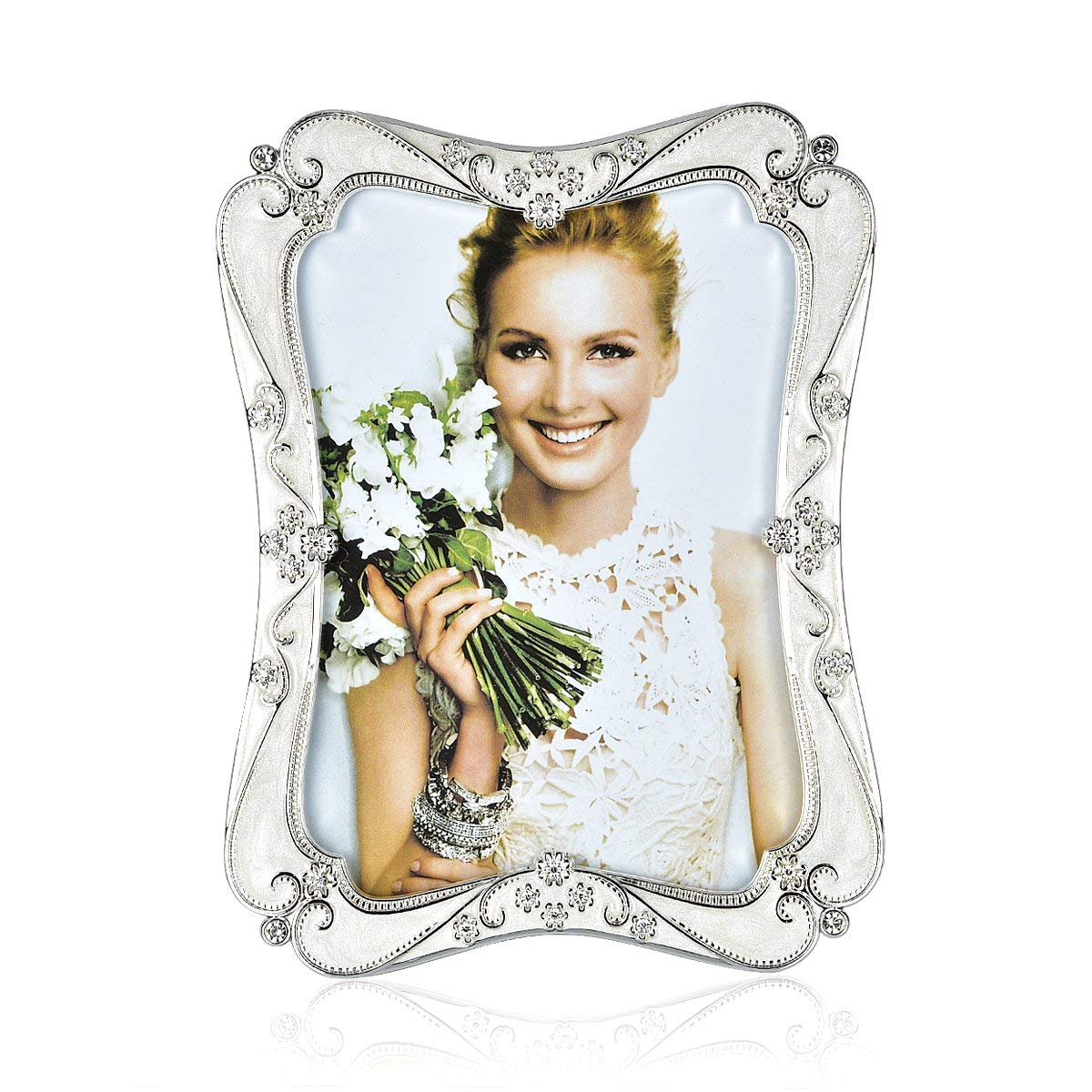 Wedding Photo Frame Silver Plated Picture Frame - EPOXY Zinc Alloy 8x10 Inch Metal Marriage Picture Frame - Inlay Rhinestones Photo Frames Blocks for Family Love Baby