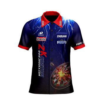 531e828a3 Diseñar su propio dardos camisas Polo camiseta con bolsillos cremallera para  Team sublimada dardos camisas