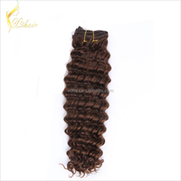 Full And Thick Exceptional Quality 100% Human Remy Clip In Dark Auburn Human Hair Extensions Straight