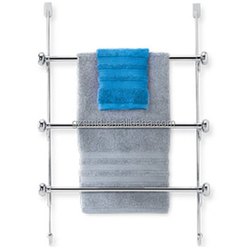 Bathroom Hanging Over Shower Door Stainless Steel 3 Tier Bars Towel Rack With Hooks