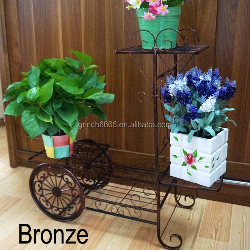 decorative wrought iron bicycle flower shelf