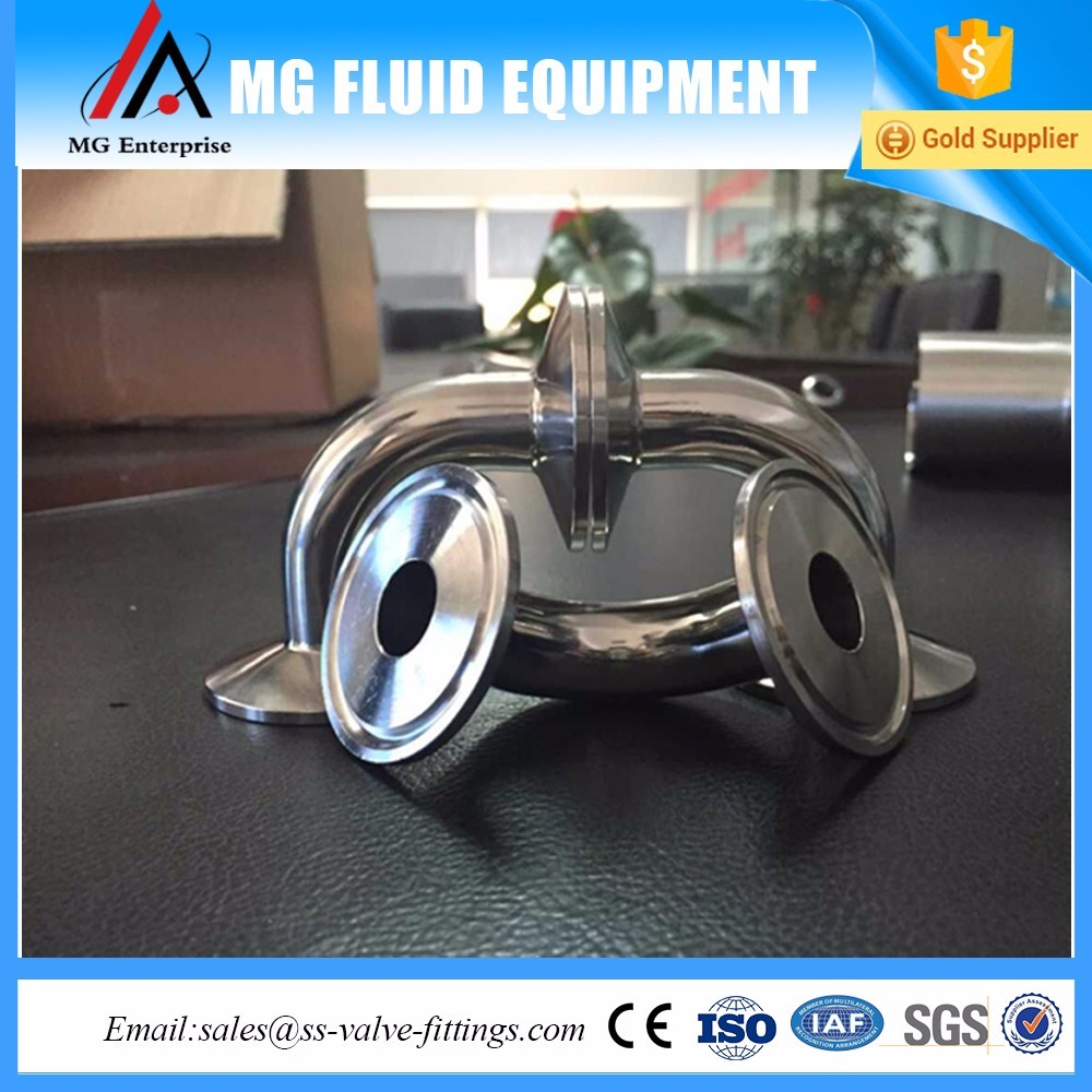Stainless Steel Sanitary Tri Clamp SS304 /SS316L 90degree Jacketed Elbow / Bend