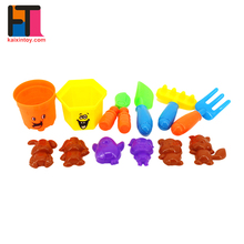 12pcs beach play set sand digger mold children toy wholesale with mini bucket