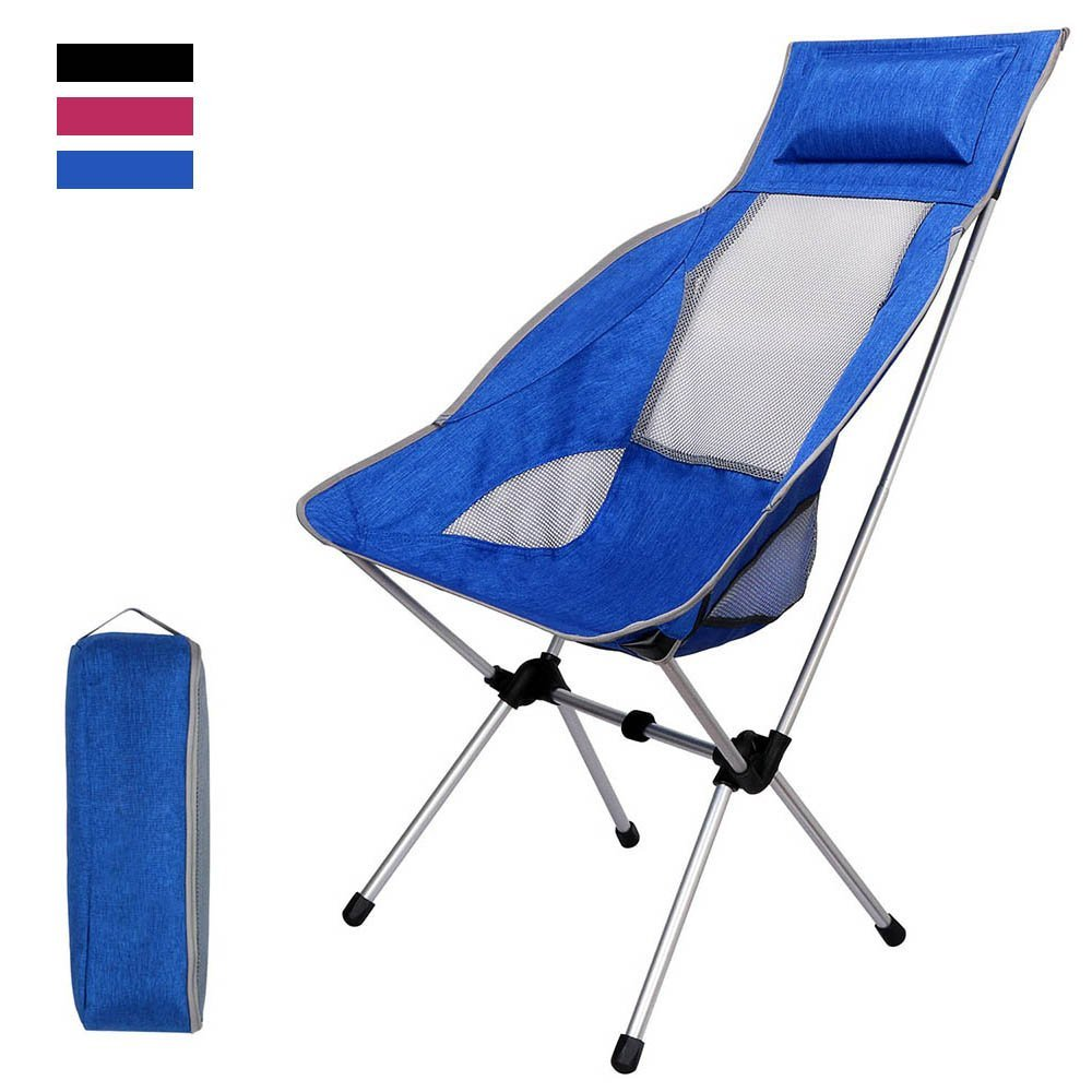 iDeep Folding Chair, Waterproof Ultralight Portable Folding Chair Backpacking Chairs with Pillow Lounger Chair High Back with Carry Bag (Hold up to 397 lbs) for Outdoor Picnic Fishing Camping