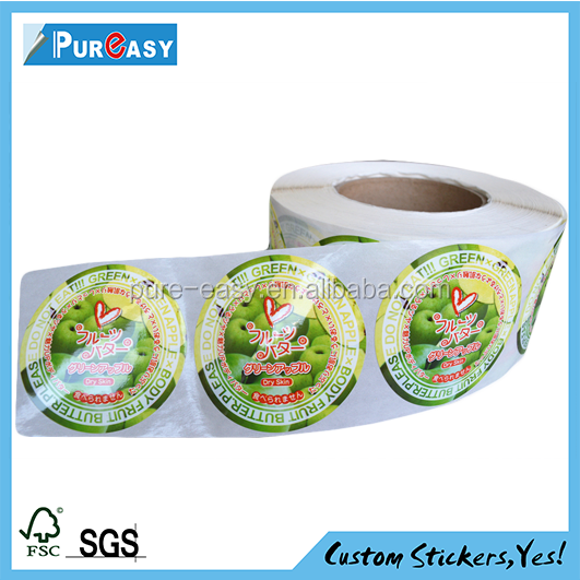 rolls adhesive PP custom label