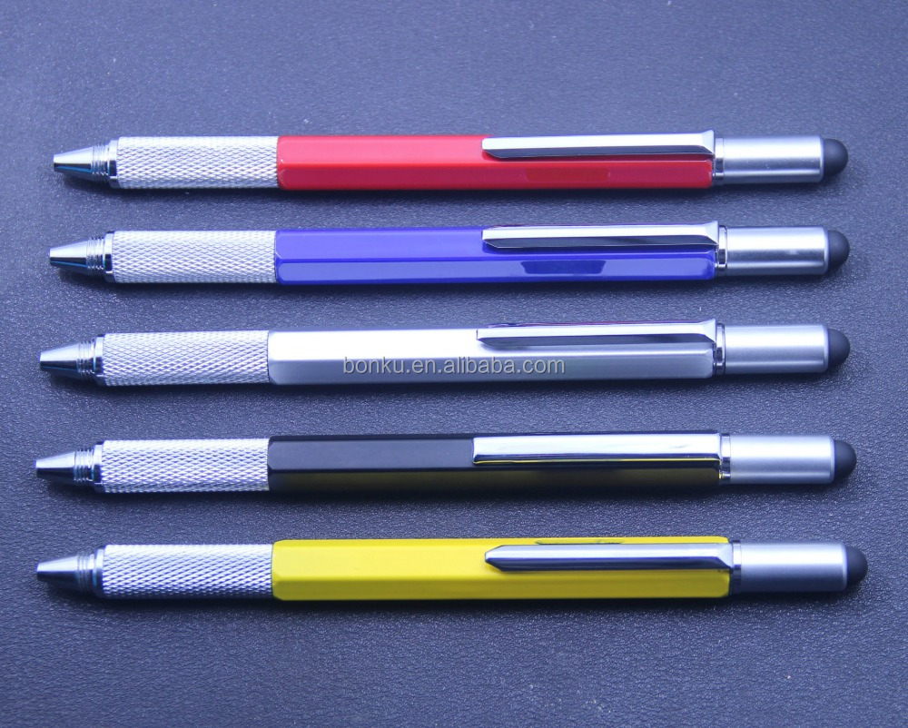tool styles ruler stylus multifunctional metal ball point pen for promotion