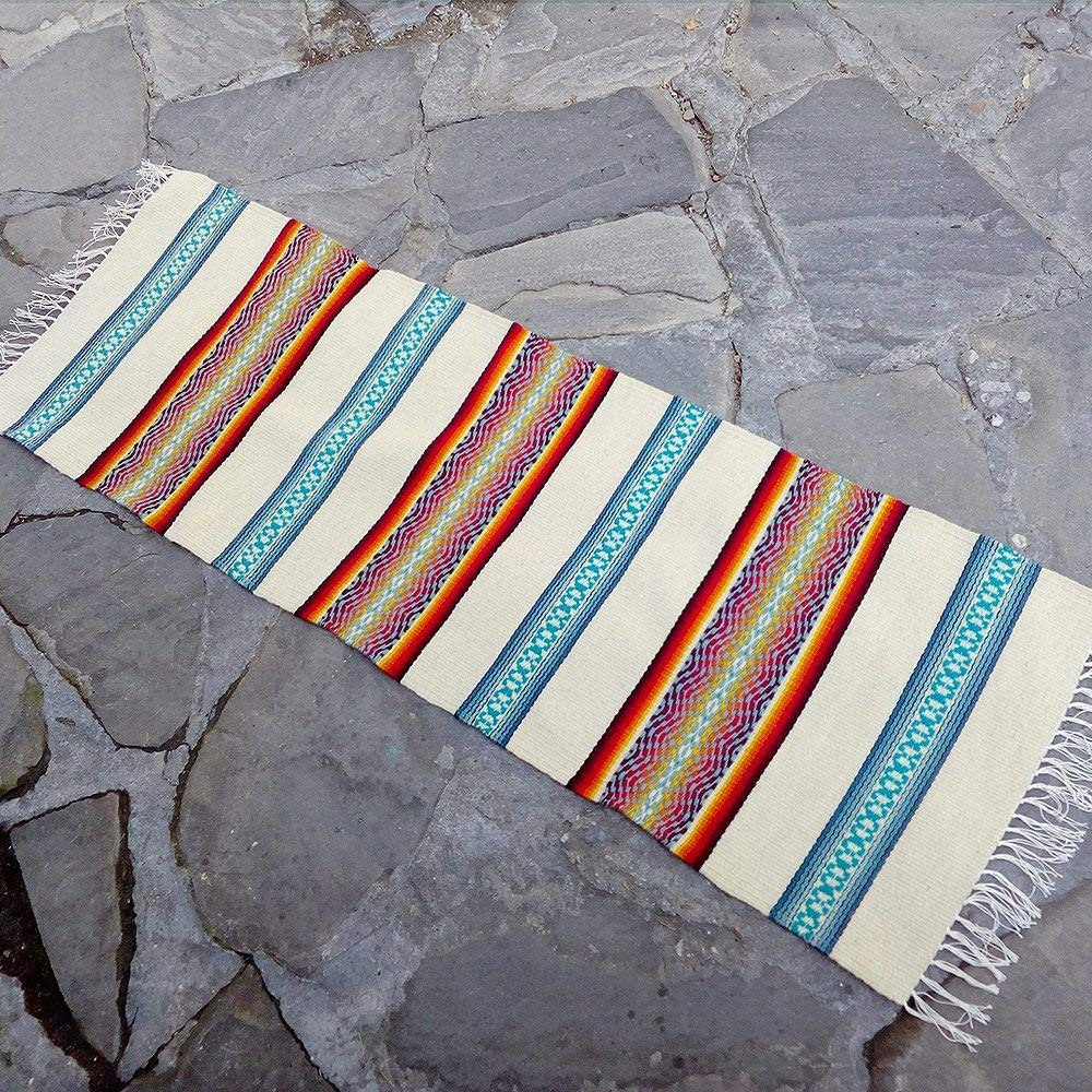Get Quotations Striped Handwoven Wool Rug In Natural White Cream Blue Red And Yellow Palette
