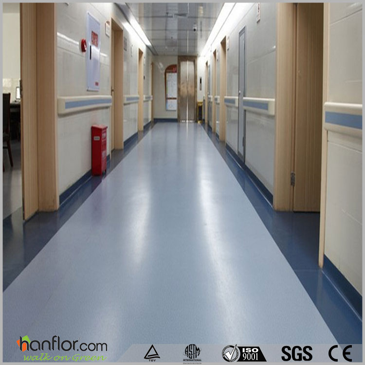 2016 popular non-slip hospital pvc vinyl plastic roll flooring