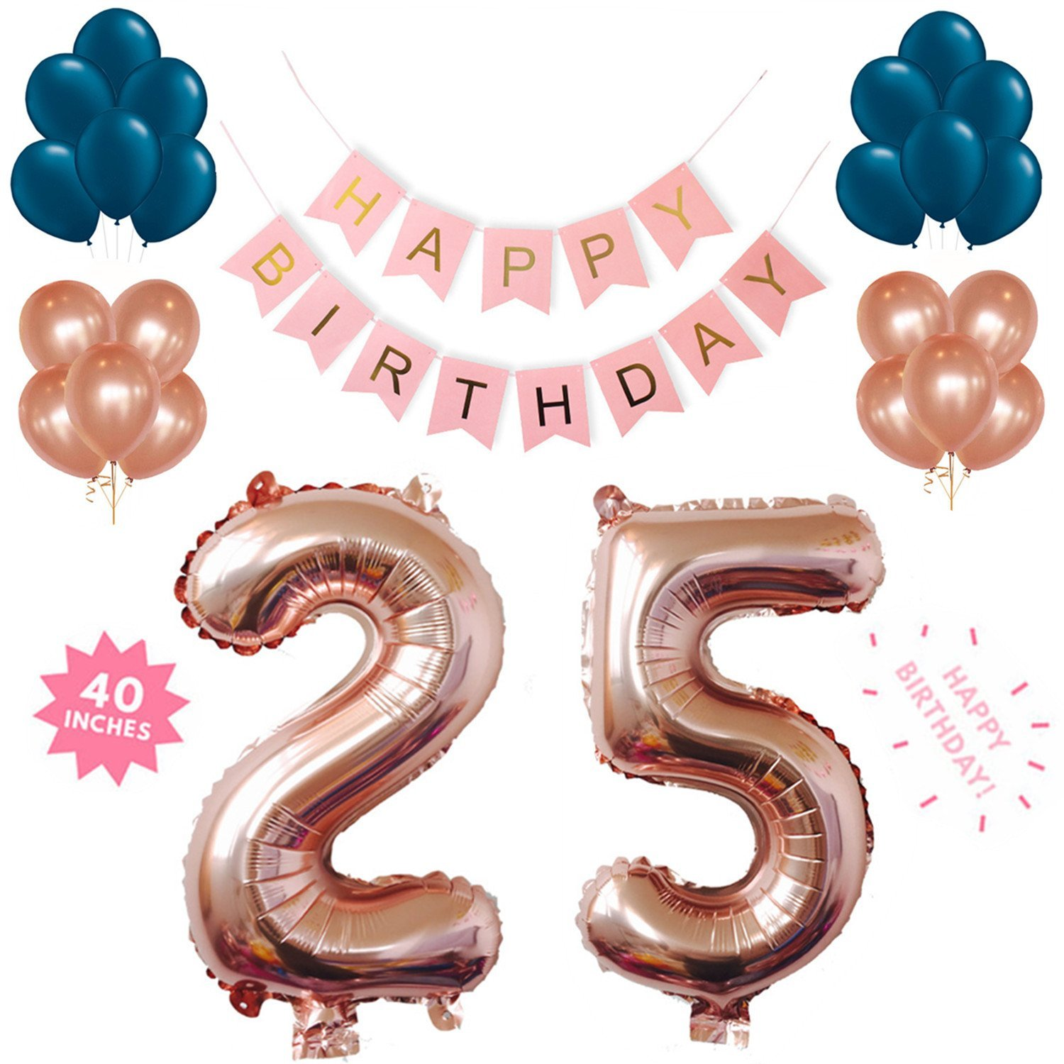 Get Quotations 25 Rose Gold 40 Inch Huge Giant Number Balloons Foil Mylar With Pink Happy